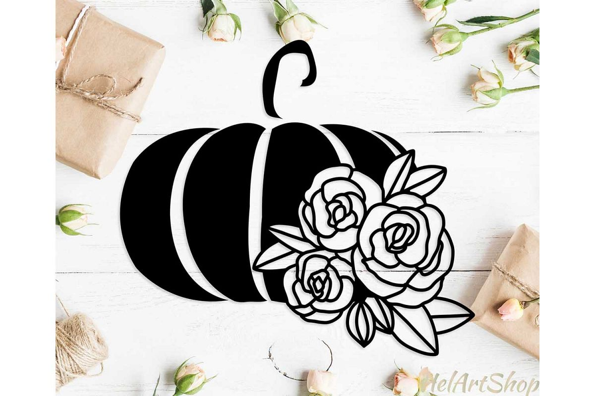 Pumpkin svg, Floral pumpkin svg, Thanksgiving svg cut file example image 1