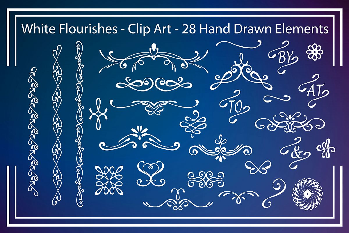 White Flourishes - Clipart example image 1