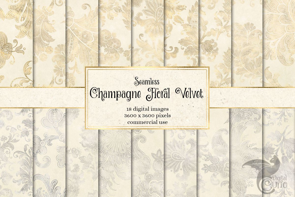 Champagne Floral Velvet Digital Paper example image 1