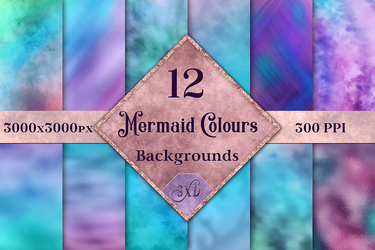 Mermaid Colours Backgrounds - 12 Image Textures Set example image 1