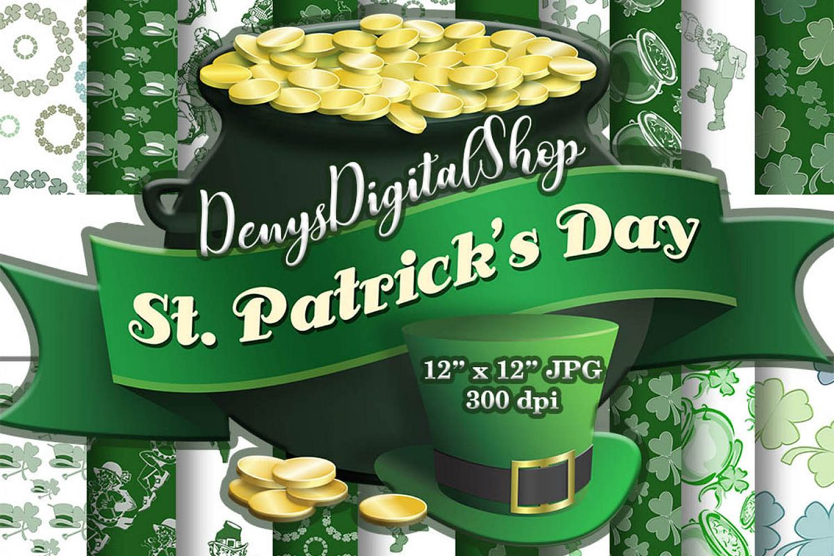 Irish Digital Paper,Irish Digital, Saint Patrick Day, SALE example image 1