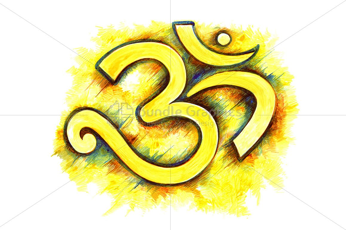 Om - Ink Drawing of Religious Symbol example image 1