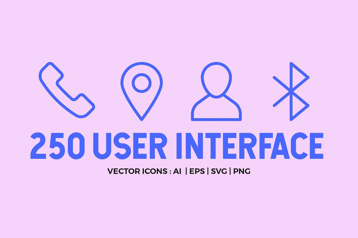 250 User Interface Line Icons example image 1