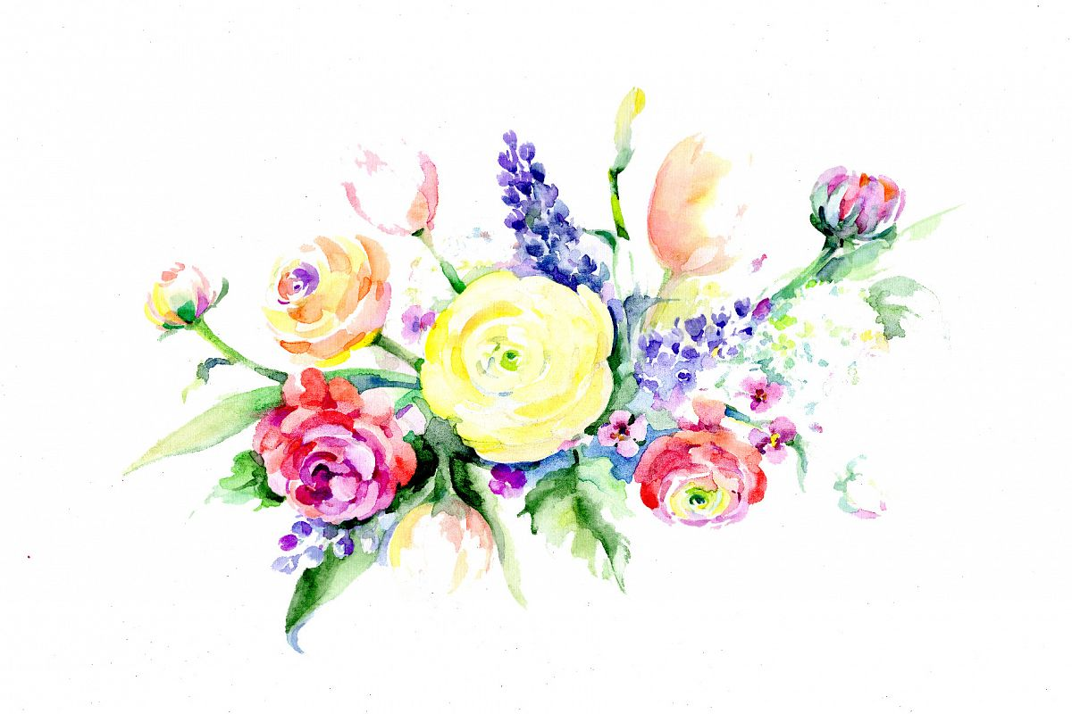 Bouquet summer flowers PNG watercolor s | Design Bundles