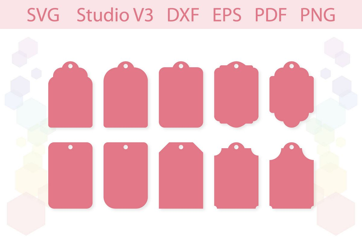 Gift Tag Shapes cut files SVG Silhouette Studio PDF PNG example image 1