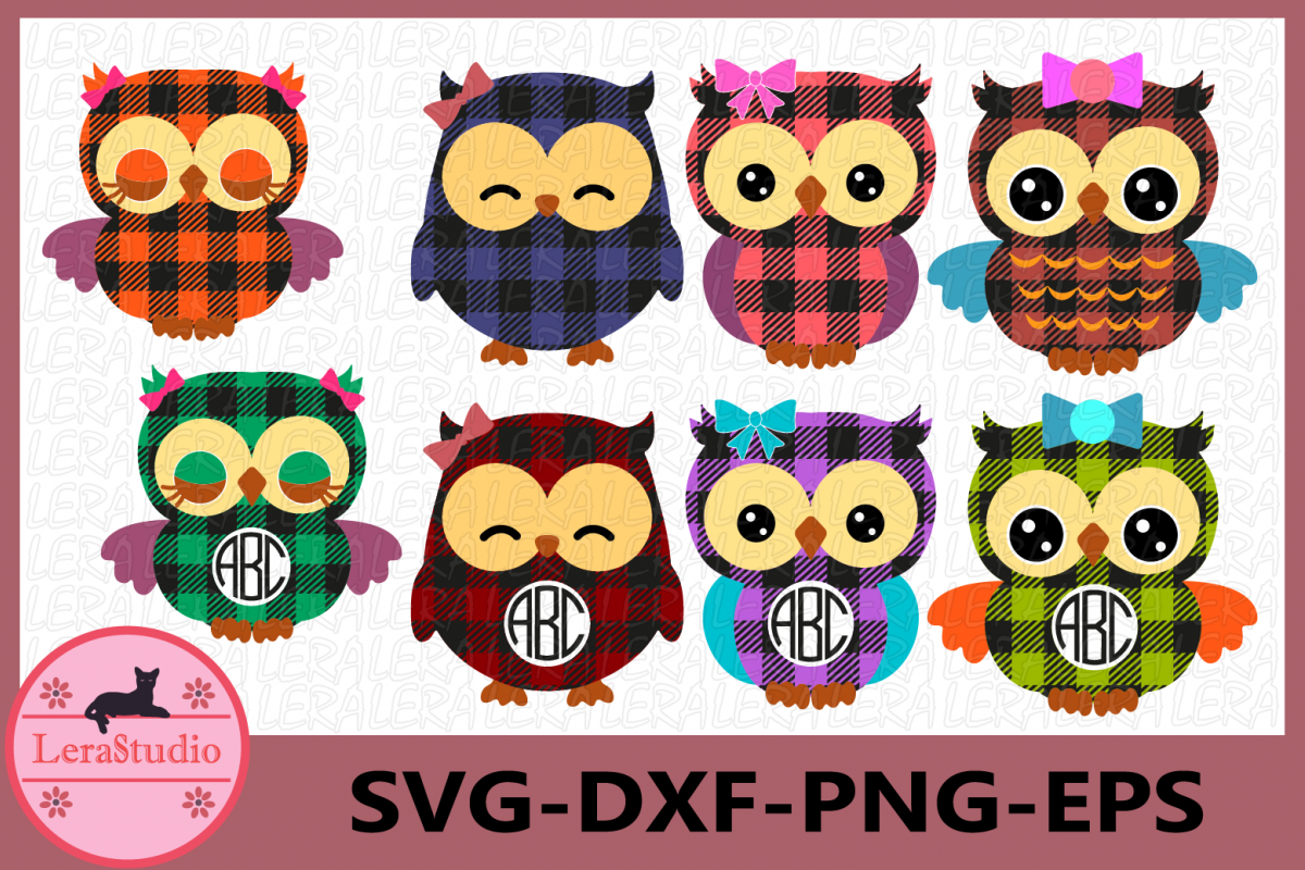 Owl Monogram Frames Svg, Owl Buffalo Plaid SVG, Owl SVG example image 1
