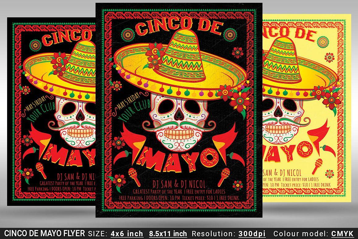 cinco de mayo flyer and poster by olore design bundles