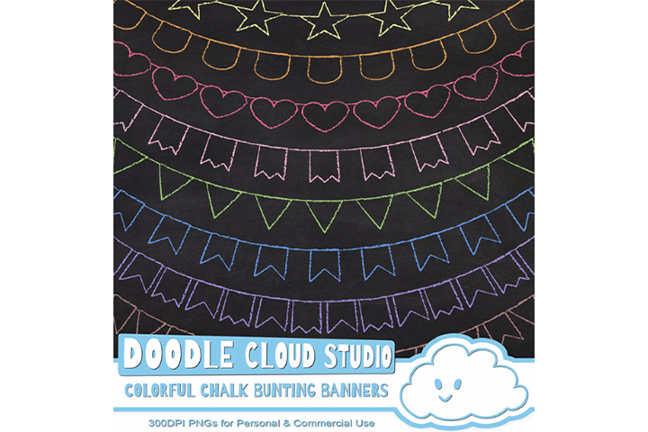 Colorful Chalk Bunting Banners Cliparts, Colorful Chalkboard Bunting Flags, Chalkboard clip art, Instant Download, Personal & Commercial Use example image 1