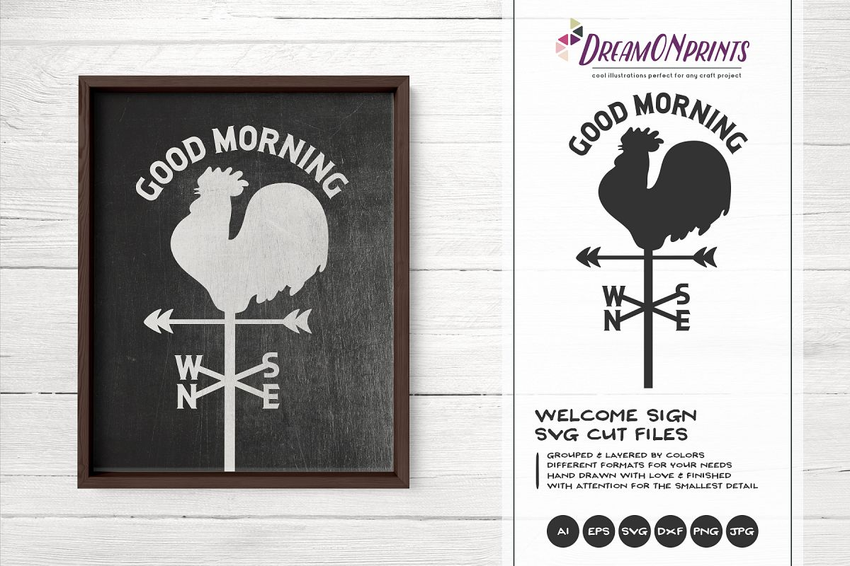 Rooster Wind Compass SVG - Good Morning SVG example image 1