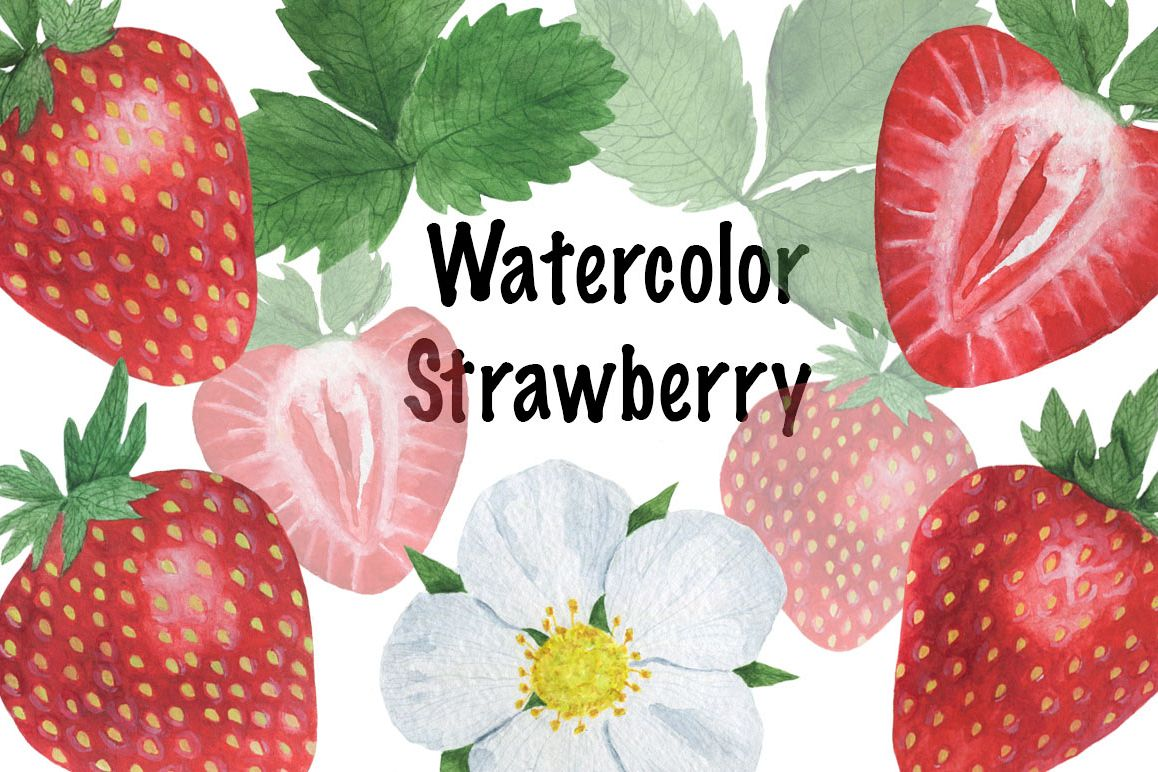 Set Strawberry Watercolor example image 1
