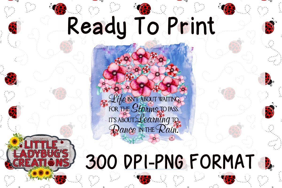 Dance In The Rain 300DPI PNG Printable Digital Design example image 1