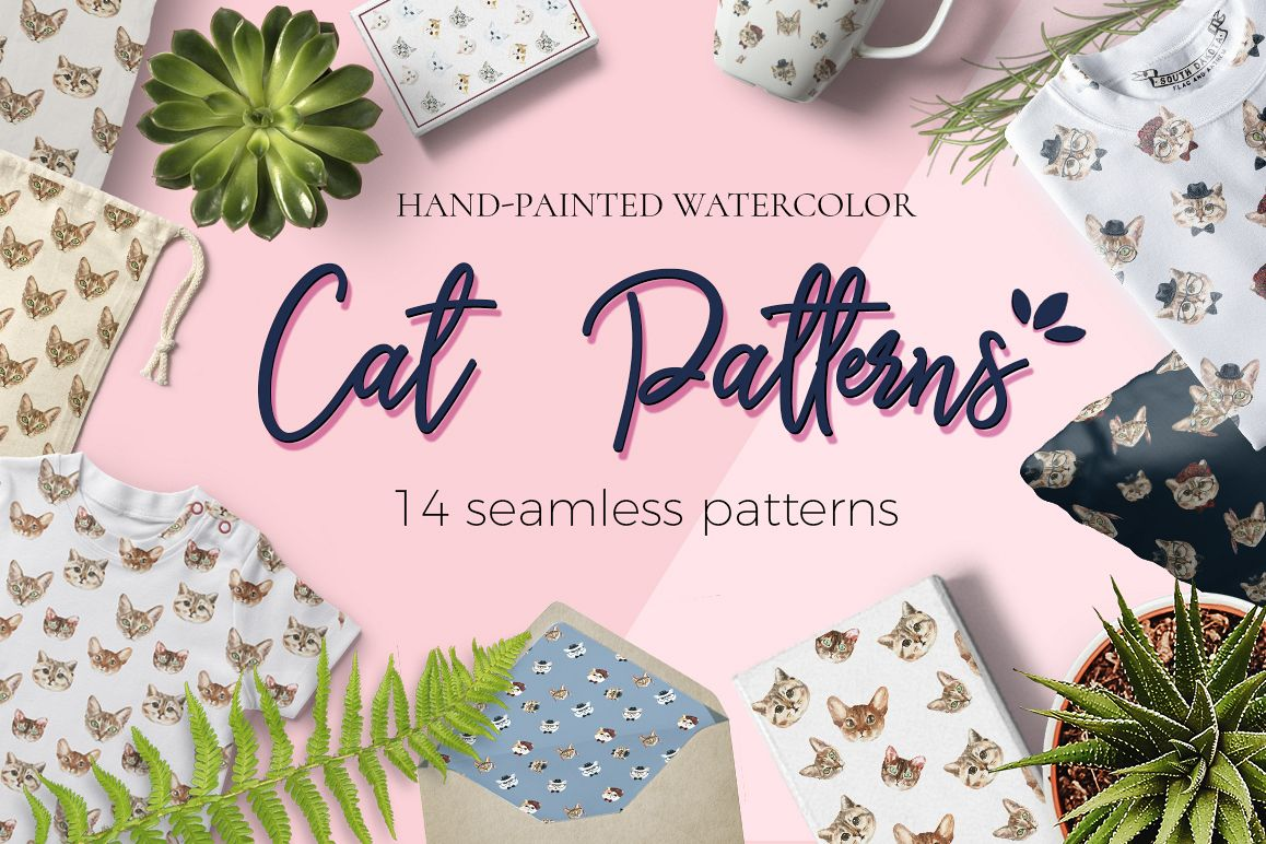 Cat watercolor patterns  example image 1