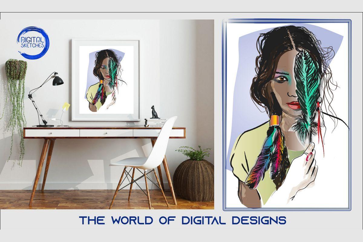 Printable Feather Boho Women Wall Art Print Poster example image 1