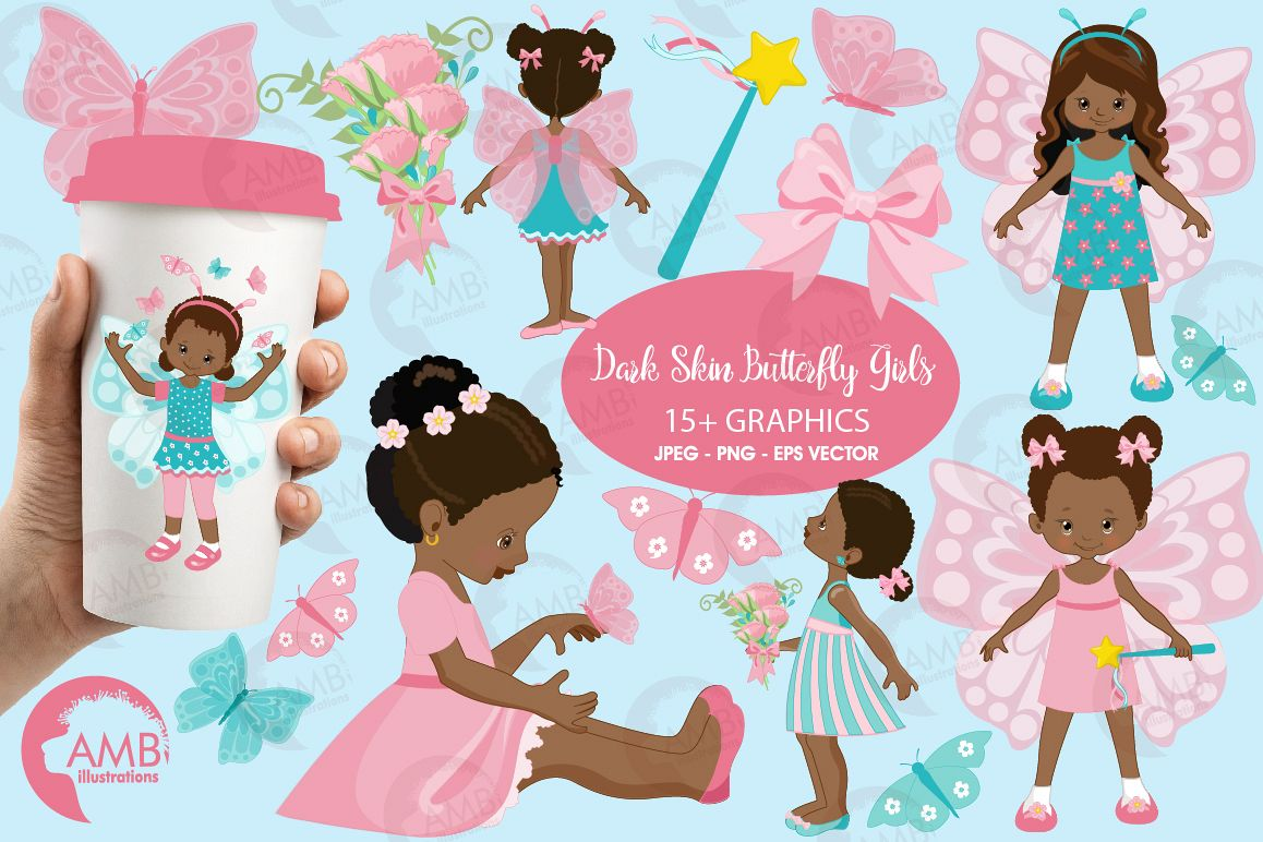 Fairy girls, butterfly girls clipart, graphics and illustrations AMB-1084 example image 1