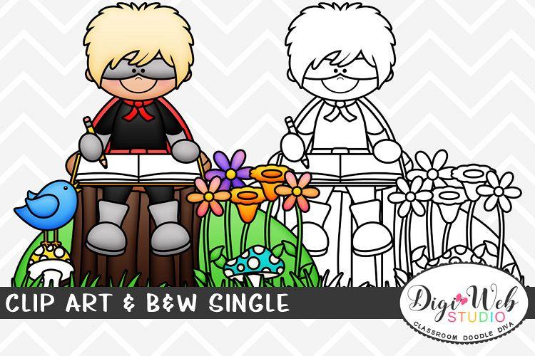 Clip Art & B&W Single -Superhero Boy Sitting Outside Writing example image 1