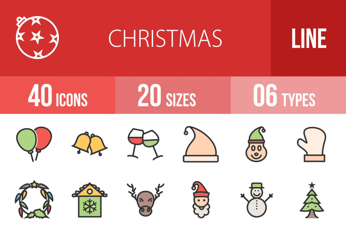 40 Christmas Linear Multicolor Icons example image 1