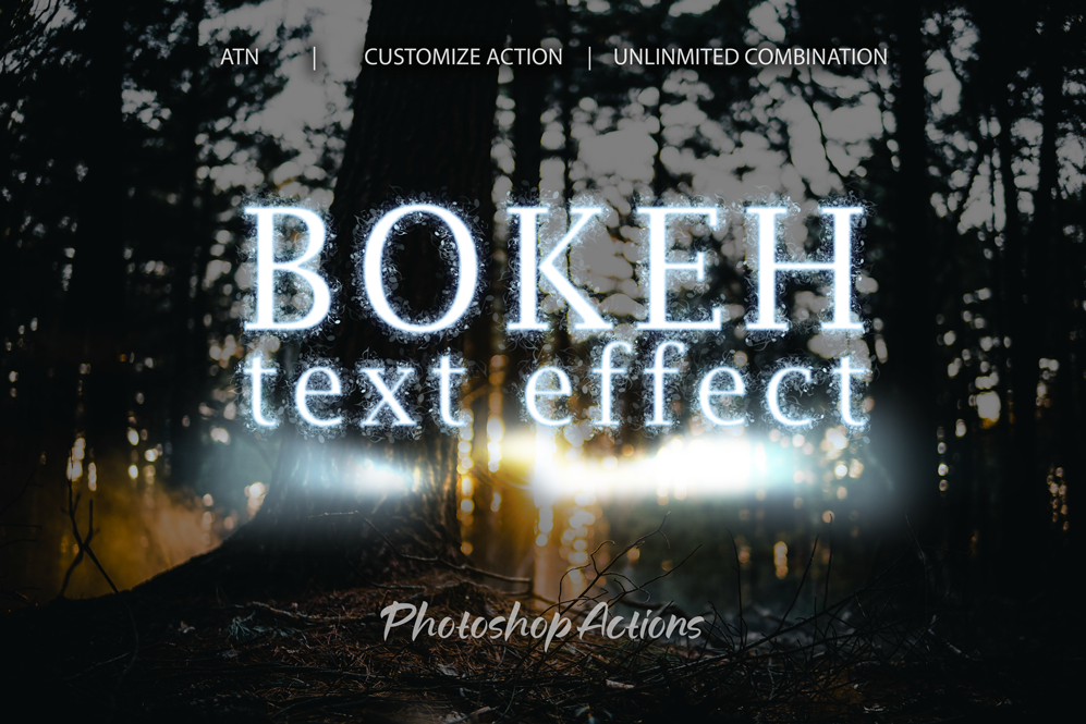Bokeh Text Effect Photoshop Action example image 1