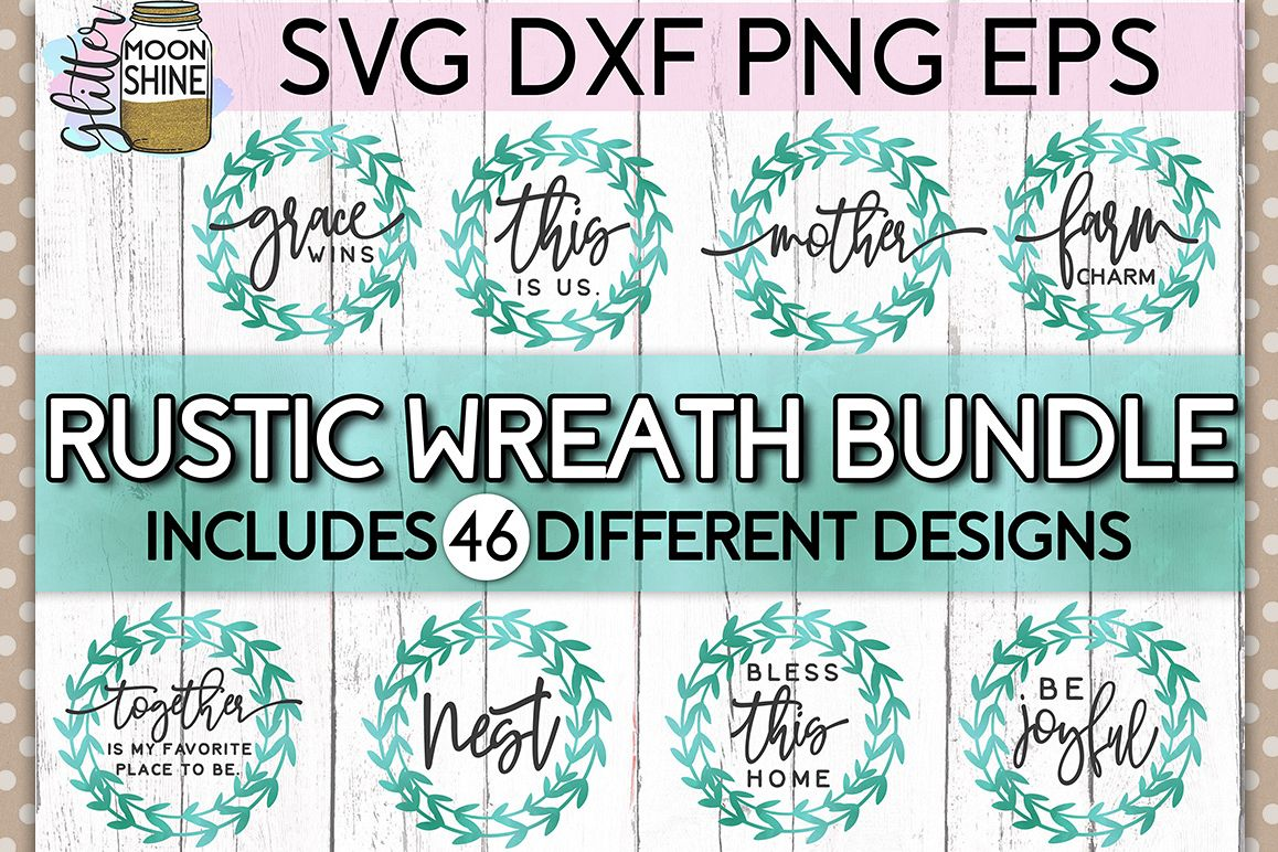 Rustic Wreath Bundle of 46 SVG DXF PNG EPS Cutting Files example image 1
