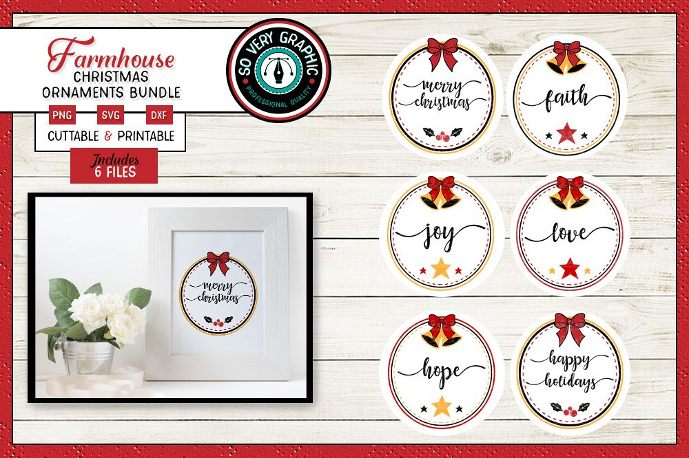 Farmhouse Christmas Ornaments | Set of 6 | SVG | PNG | DXF example image 1