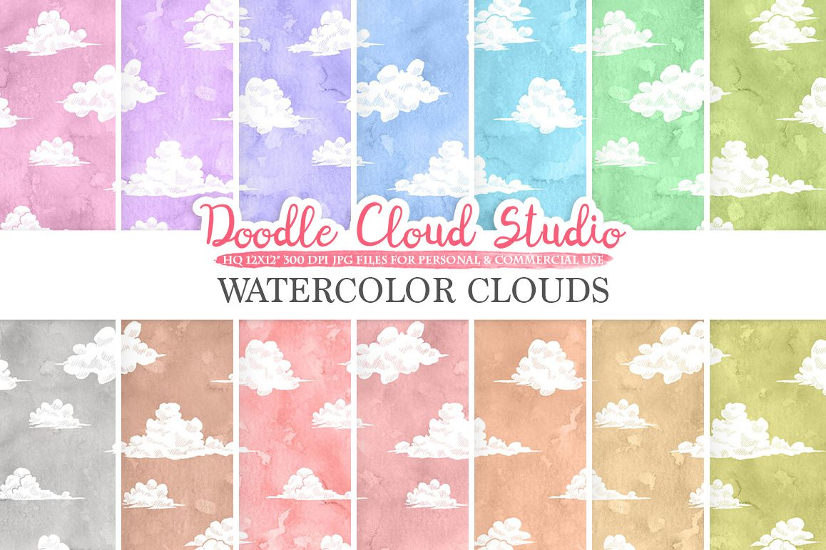 Watercolor Clouds digital paper, Cloud pattern, pastel watercolor background, Instant Download, for Personal & Commercial Use example image 1