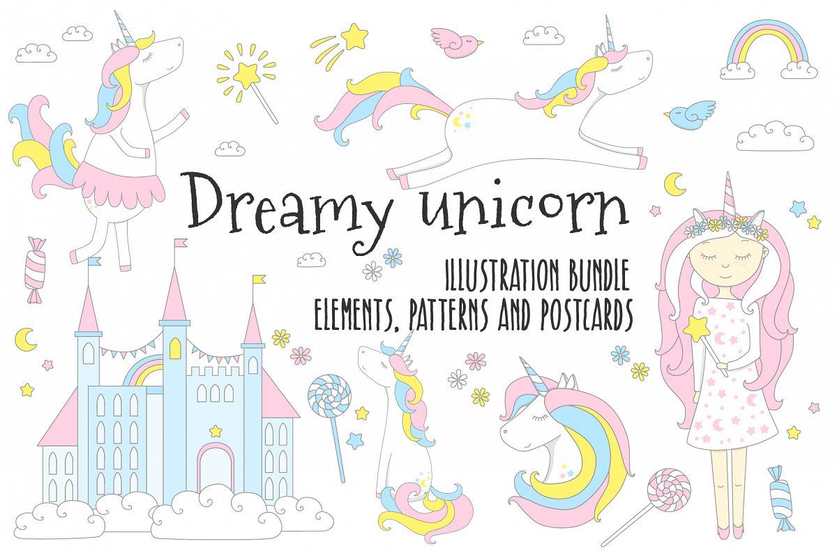 Dreamy unicorn, illustration bundle example image 1