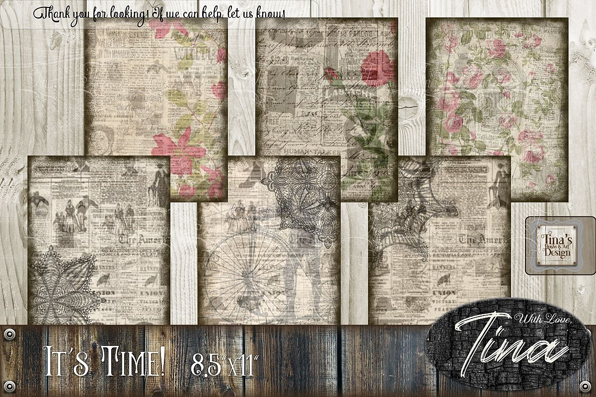 It's Time Newsprint Roses Lace Doily and Tags 092818INP example image 1
