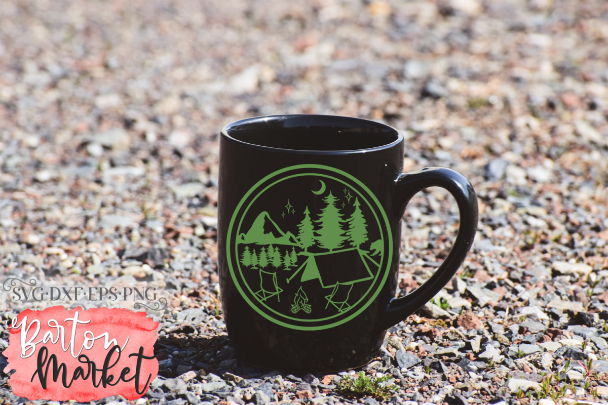 Camping Silhouette SVG DXF EPS PNG example image 1
