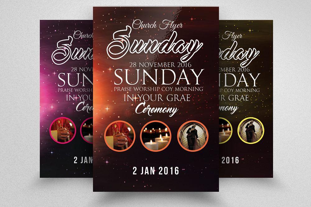 sunday prayer church flyer template by design bundles