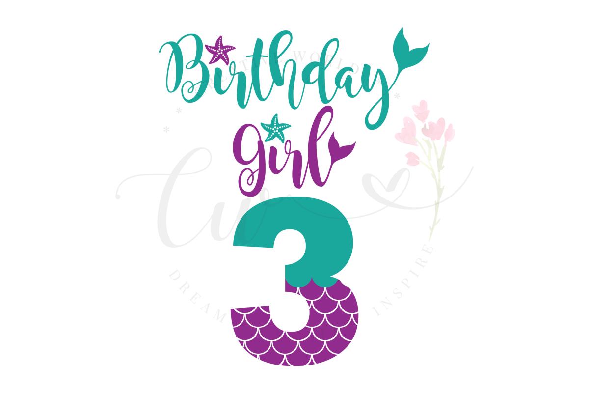 My 3rd Birthday Mermaid SVG | Mermaid Birthday Girl svg example image 1
