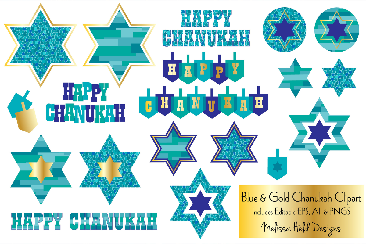 Blue & Gold Chanukah Clipart example image 1