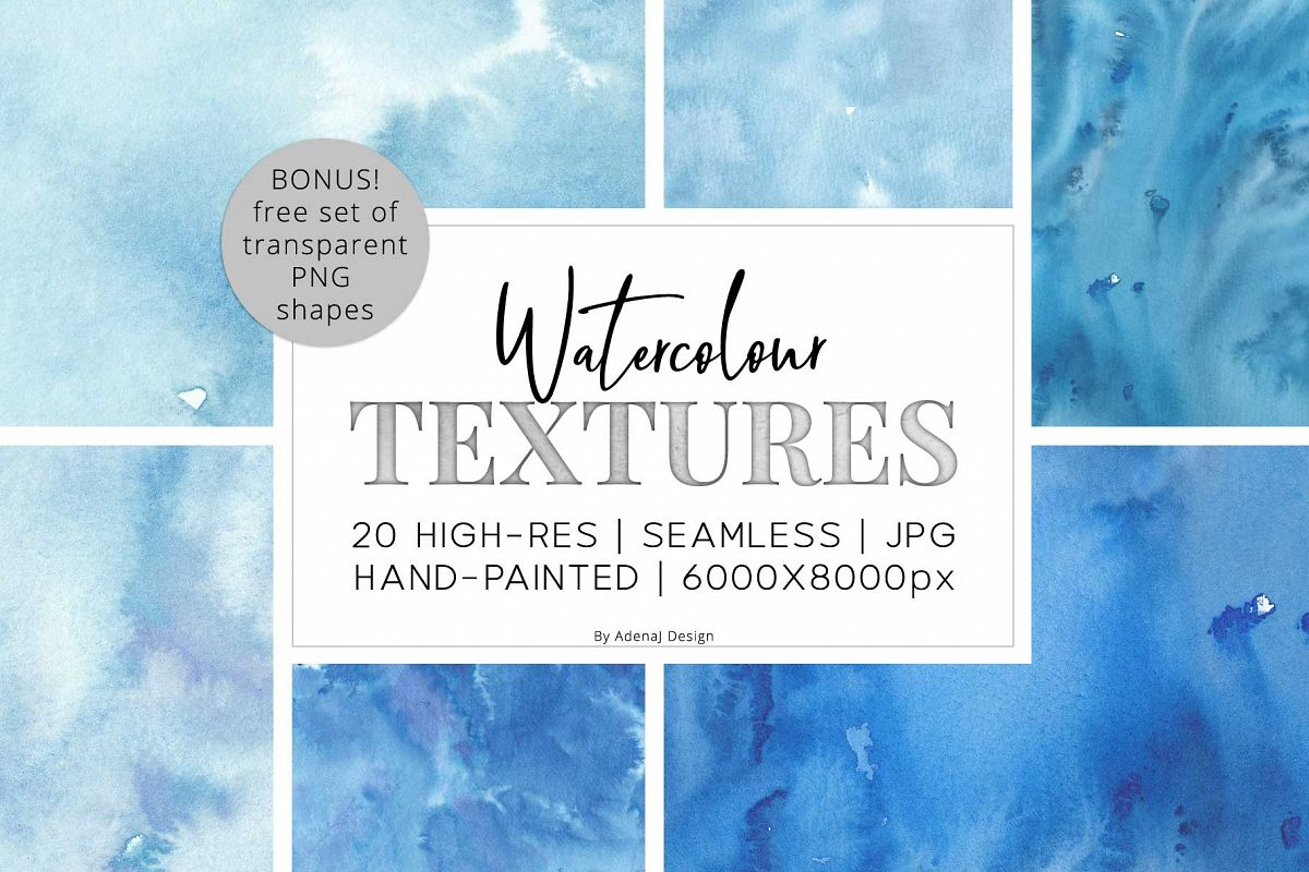 20 Huge Seamless Blue Watercolor Textures example image 1