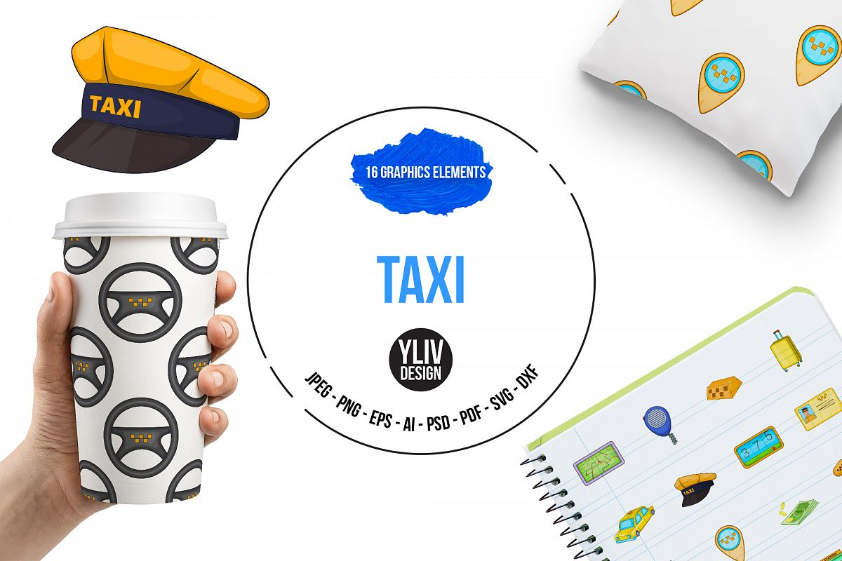 Taxi icons set, cartoon style example image 1