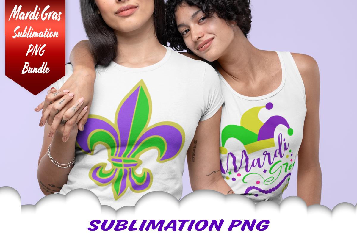 Mardi Gras Jester Fleur De Lis Beads Sublimation PNG Bundle example image 1