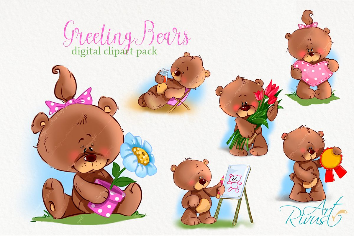 Cute animal teddy bear. Little greeting bears clipart