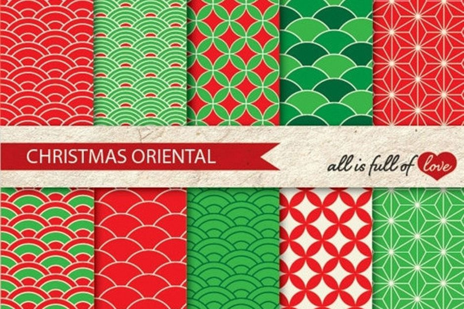 Christmas Graphics Oriental Background Patterns in Red and Green example image 1