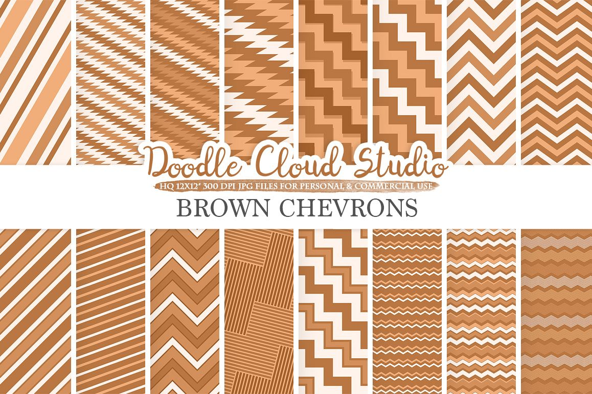 Brown Chevron digital paper, Chevron and Stripes  pattern, Zig Zag lines background, Instant Download for Personal & Commercial Use example image 1