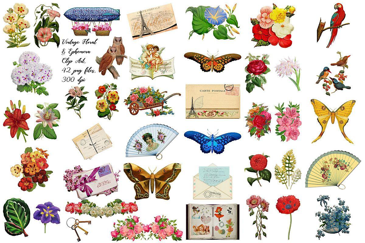 Vintage Floral Ephemera Clip Art Victorian Images