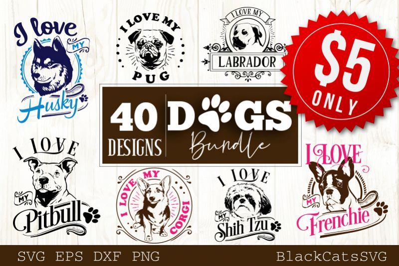 Dogs SVG bundle 40 designs example image 1