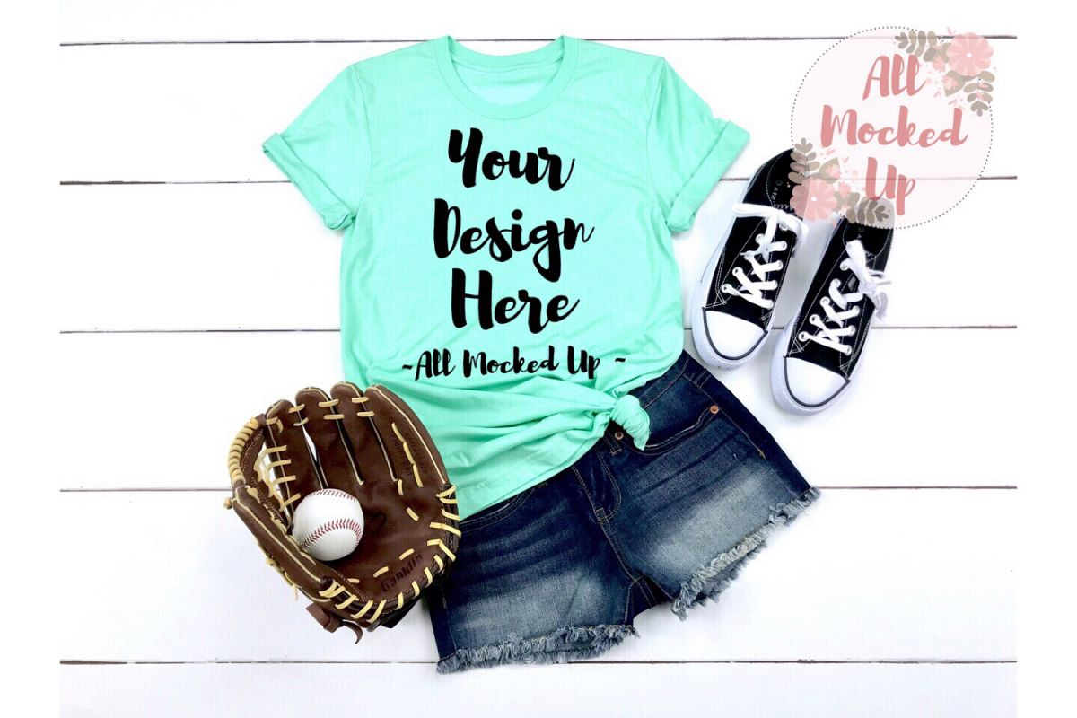 Bella Canvas 3001 / 3413 MINT Baseball Shirt Mock Up - 3/19 example image 1