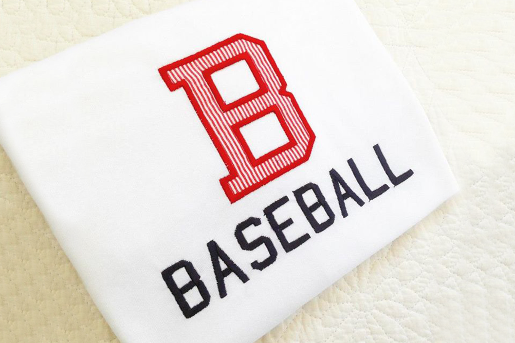 B for Baseball Applique Embroidery Design example image 1
