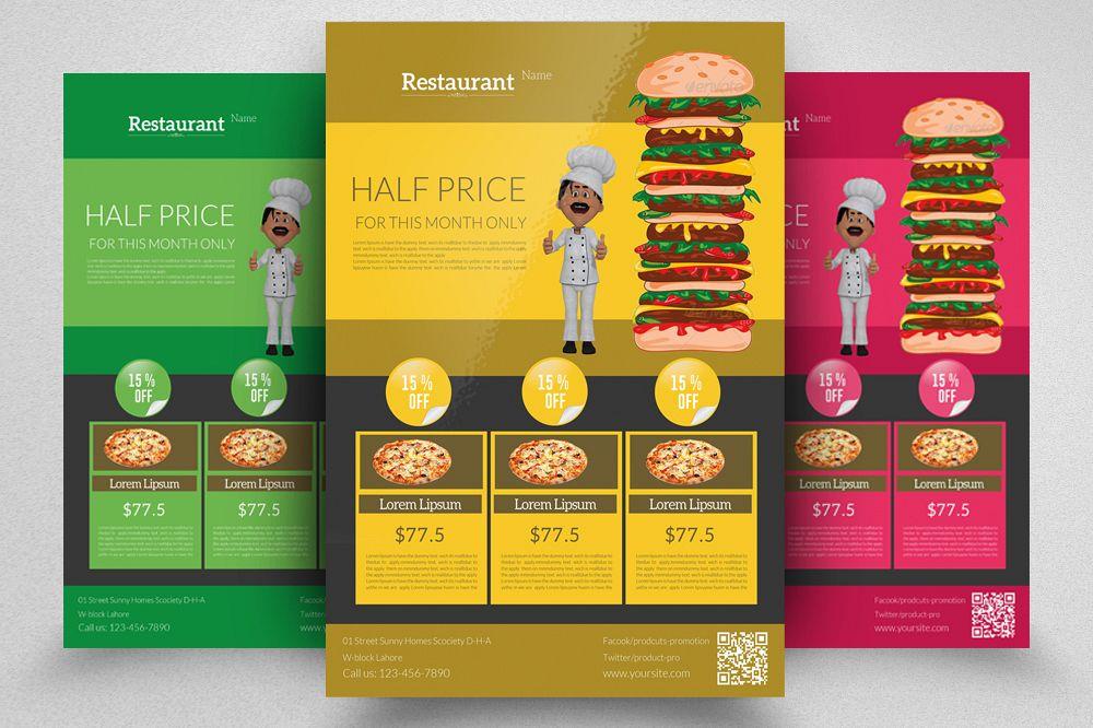 Restaurant Brochure Template | Fast Food Restaurant Flyer Template By Design Bundles