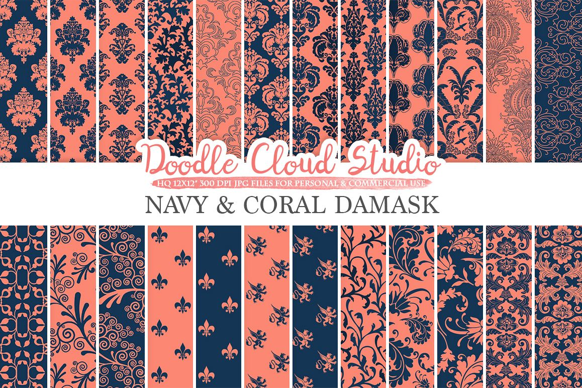 Navy and Coral Damask digital paper, Swirls patterns, Digital Floral Damask, Dark Blue backgrounds for Personal & Commercial Use example image 1