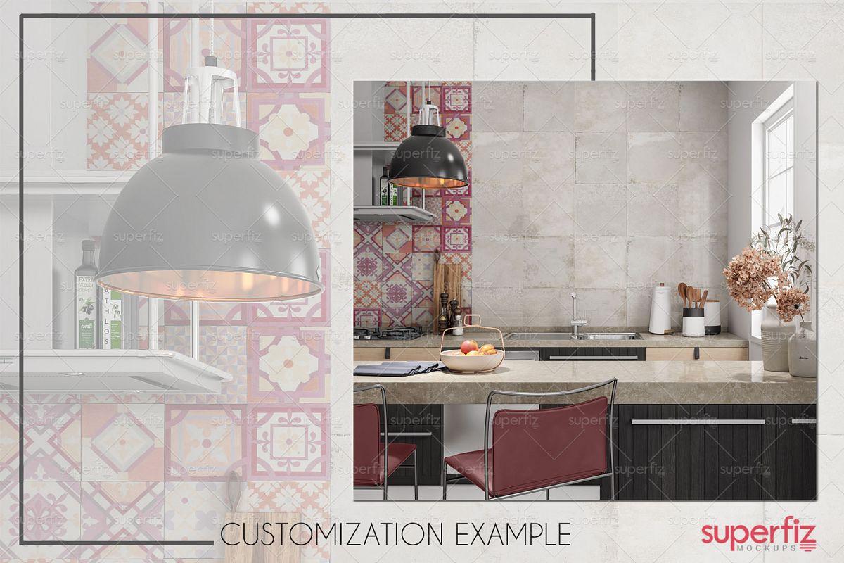 Blank Wall Kitchen PSD Mockup SM73 example image 1