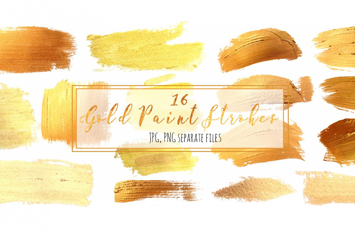 Set 16 Gold Paint Strokes example image 1