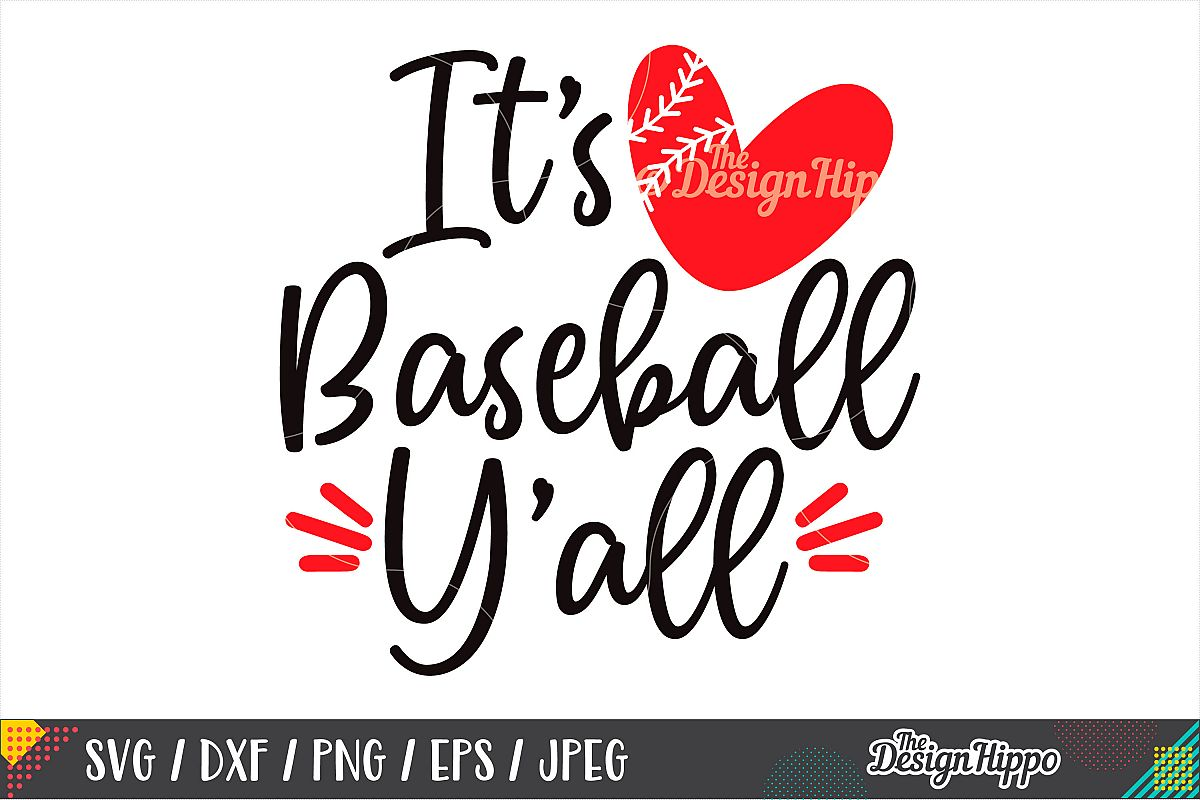 It's Baseball Y'all SVG, Baseball Heart SVG, DXF PNG Files example image 1