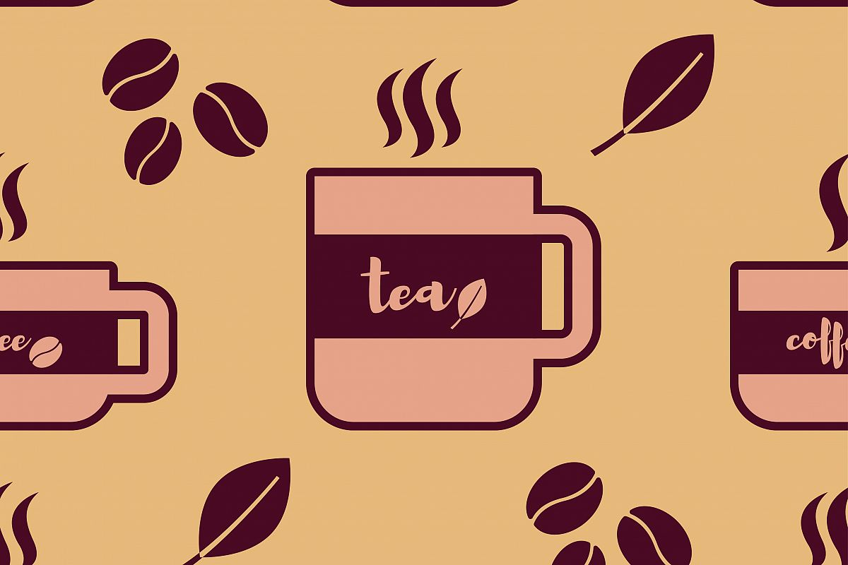Seamless vector background with cups of coffee and tea.  example image 1