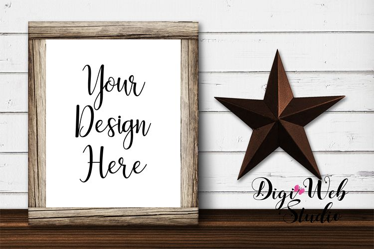 Wood Sign Mockup - Farmhouse Wood Frame with Star example image 1