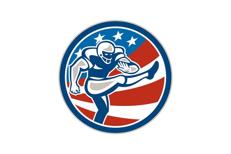 American Football Placekicker Circle Retro example image 1
