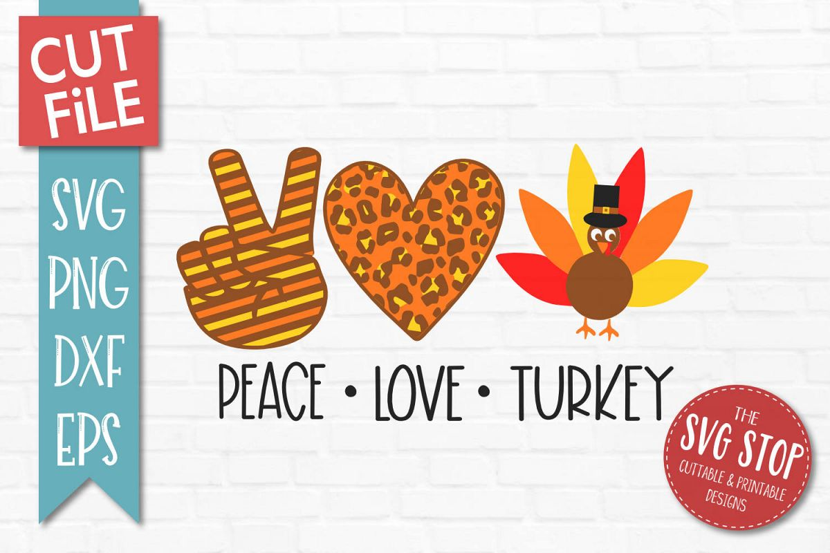 Peace Love Turkey SVG, PNG, DXF, EPS example image 1