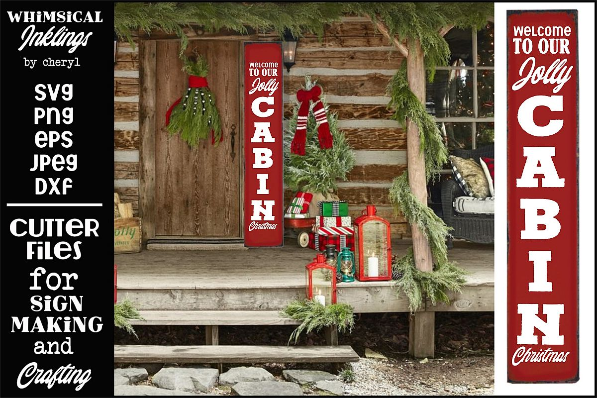 Jolly Cabin Christmas-Vertical Christmas SVG example image 1